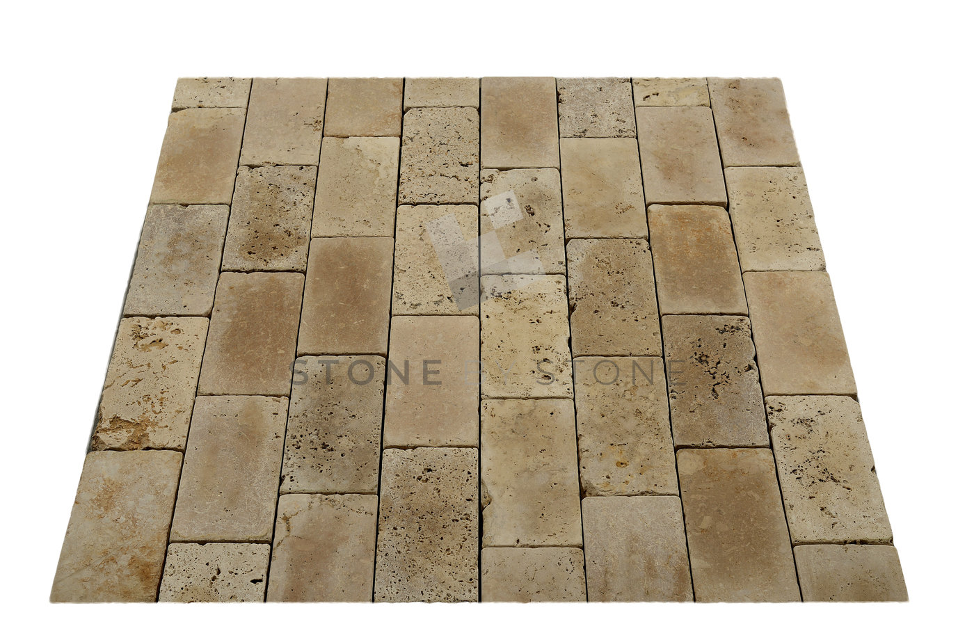 Pavé 15x30/3cm   Travertin   Vieilli Rustique   Mix Beige Photos