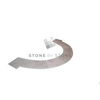 Margelle Bain Romain rayon 1m/3cm Bord droit - Travertin - Vieilli 1er Choix - Mix Beige