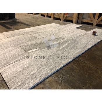 40X80/2cm Bord droit - Granit Biasca - Flammé - Gris blanc