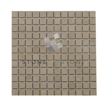 Mosaique 1X1/1cm - Travertin - Vieilli 1er choix - Mix beige