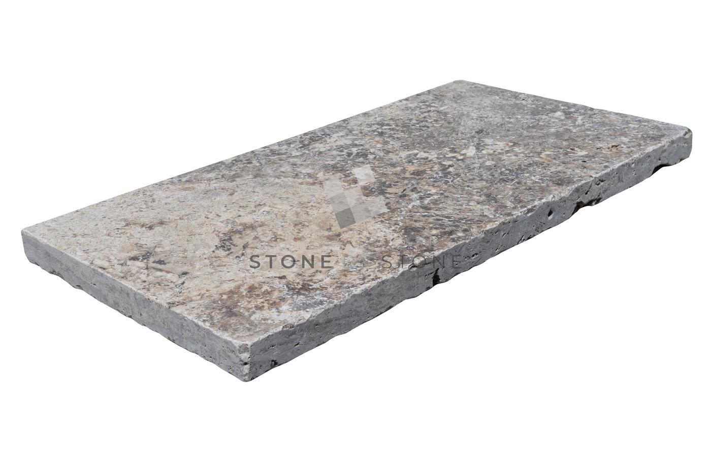 33x61/3cm Bord droit - Travertin - Vieilli 1er Choix - Silver