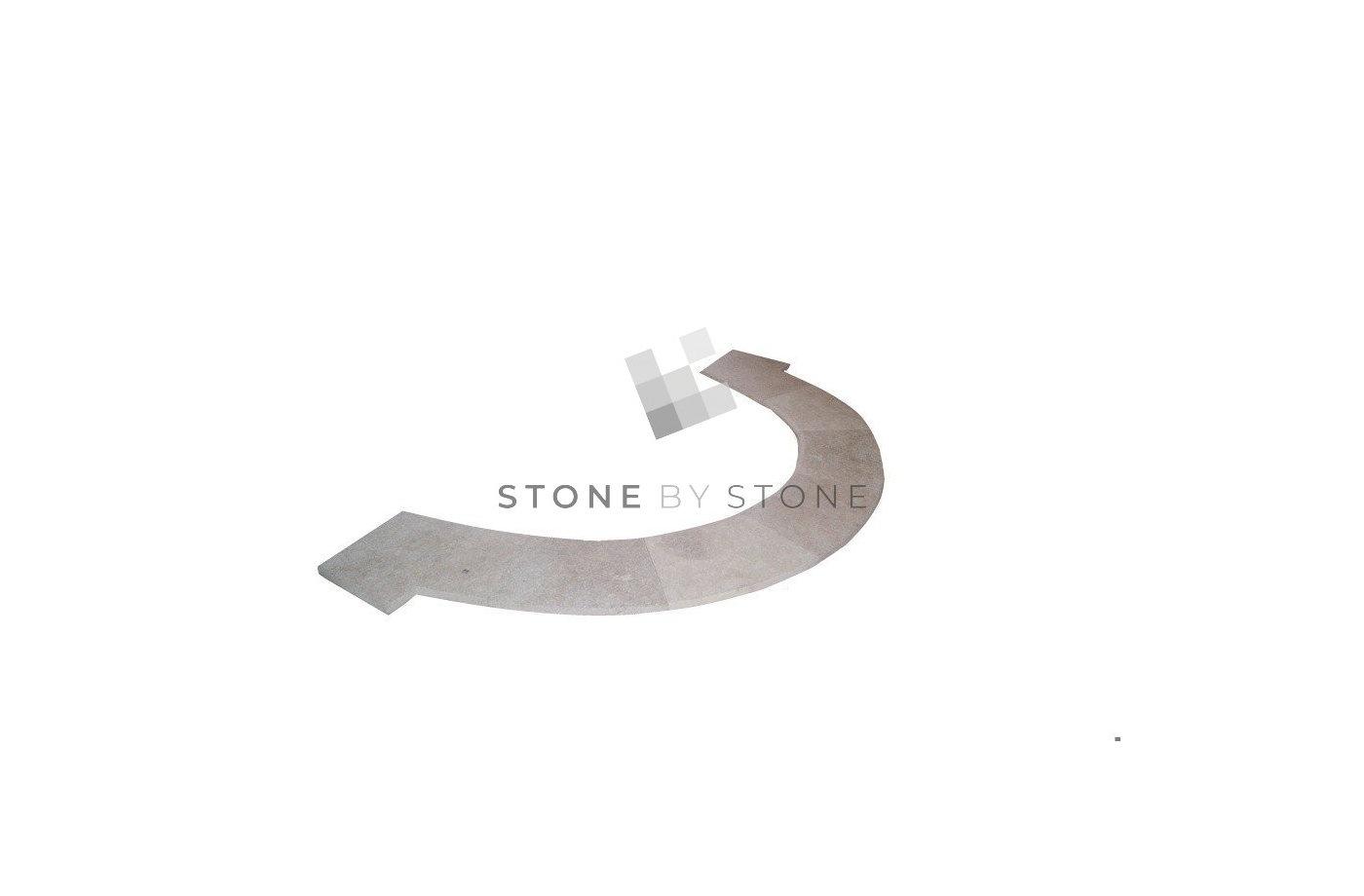 BAIN ROMAIN rayon 1,5m Bord Demi-Rond - Mix Beige - Vieilli 1er Choix