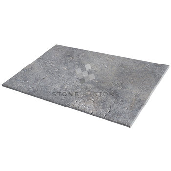 OPUS 4/1,2cm - Travertin Antik - Brossé - Silver (Gris)