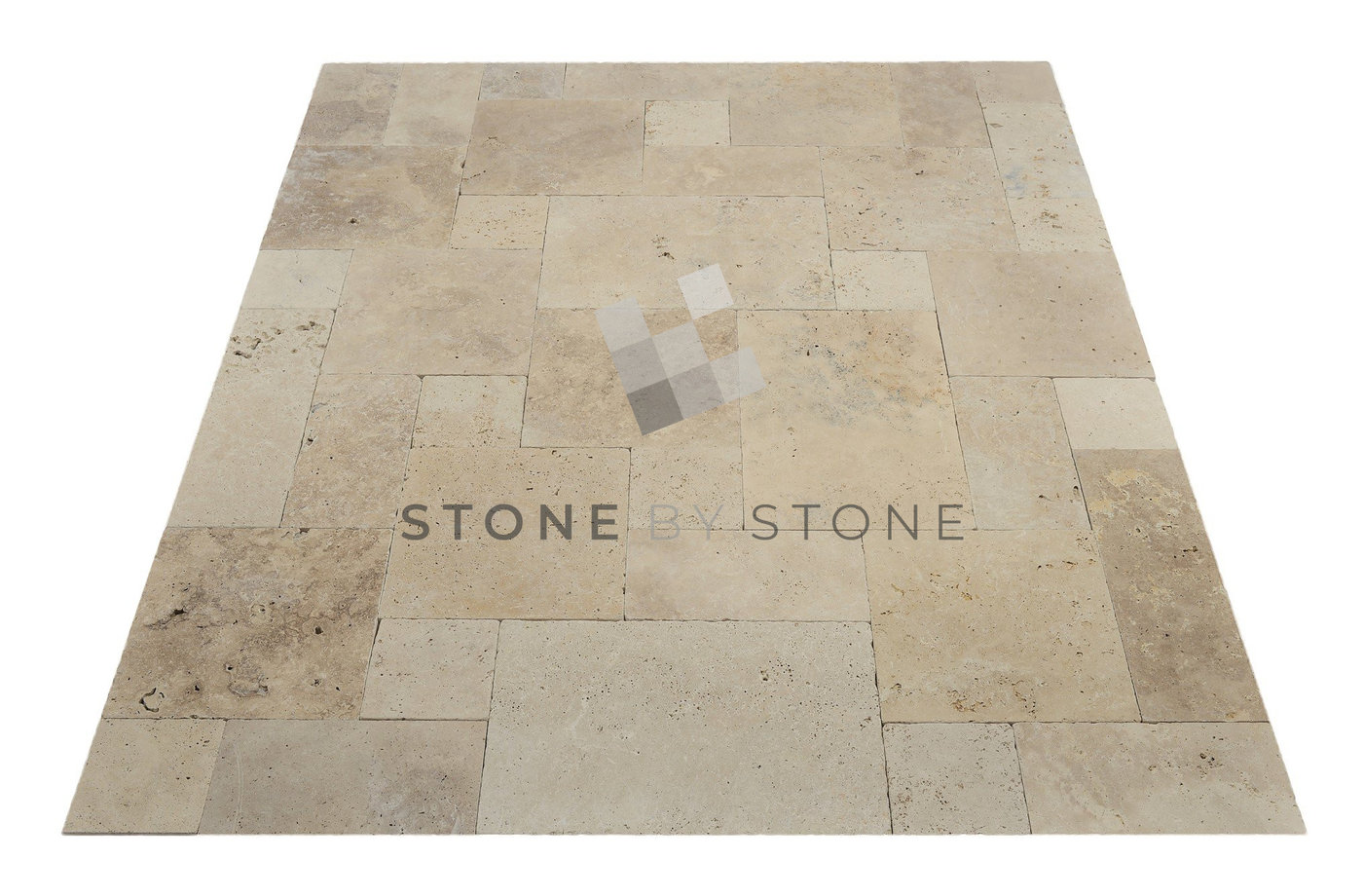 Travertin : OPUS 4/1,2cm - Mix Beige - Vieilli Rustique