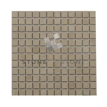 Mosaïque 2,3x2,3/1cm - Travertin 1er Choix - Mix Beige