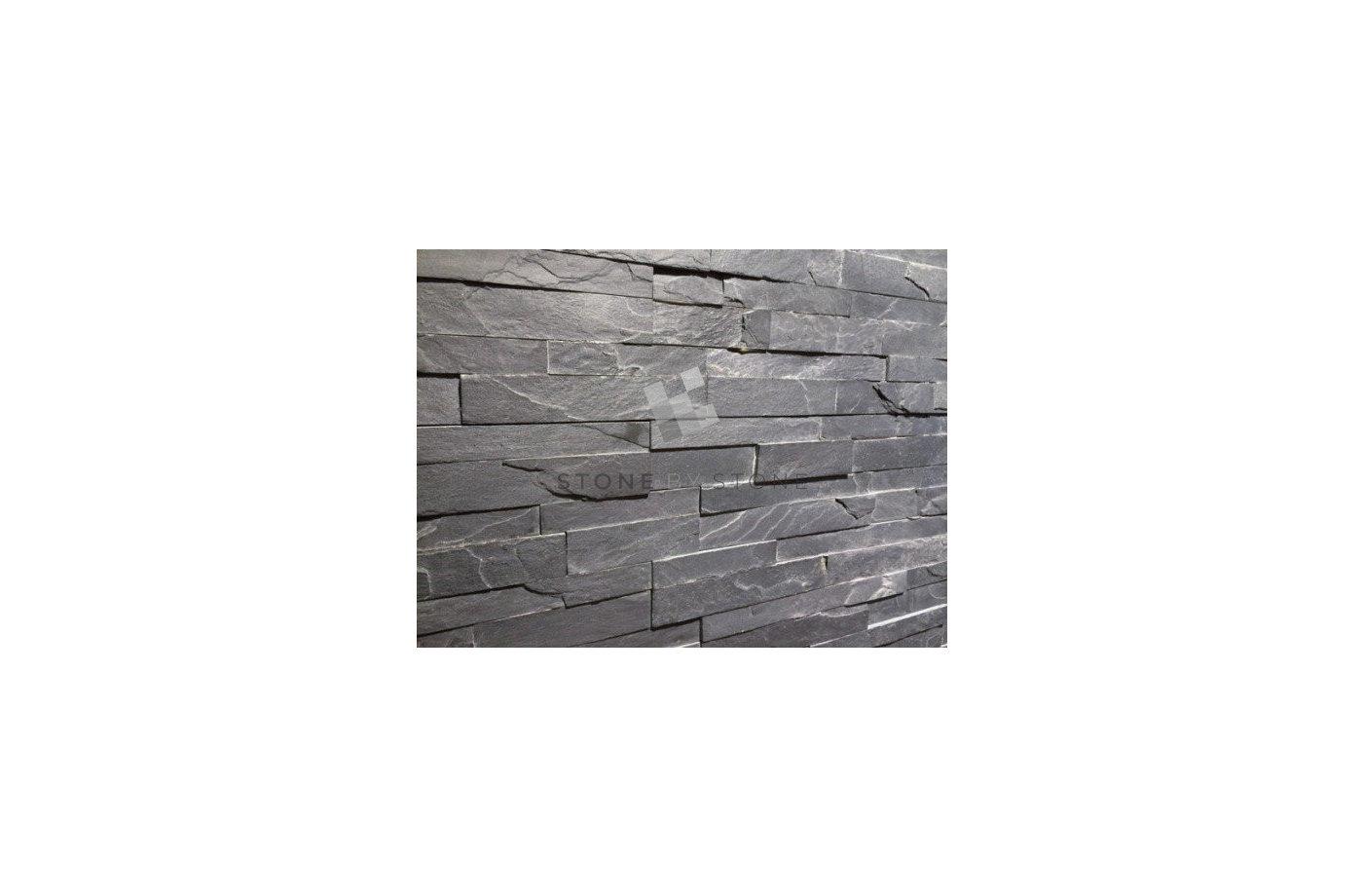 Slim Panel Ardoise Noire - Pierres de Parement pour Revêtement Mural
