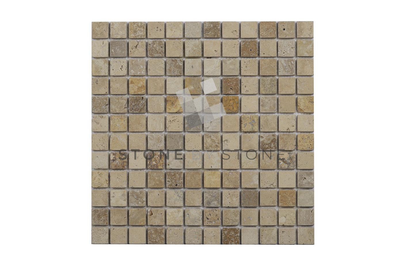 Mosaique 2.3x2.3/1cm - Beige, Noisette & Jaune - Vieilli 1er Choix