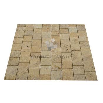 Pavé 15x15/3cm - Travertin - Vieilli 1er Choix - Jaune