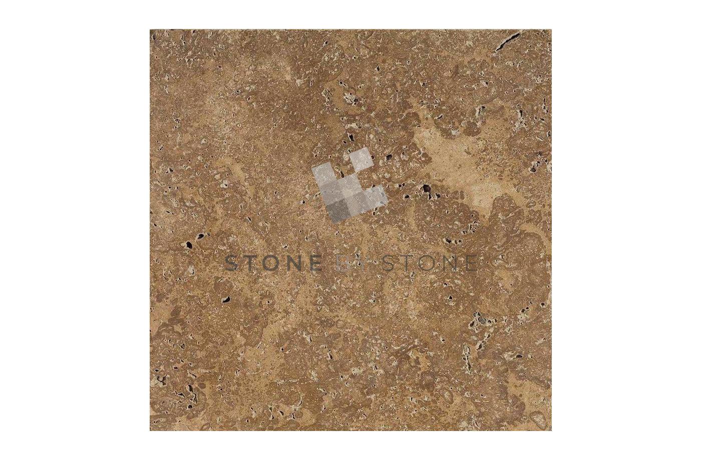 Dalles en Travertin : 20X40/1.2cm - Noce (Noisette) Vieilli 1er Choix