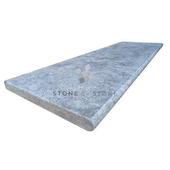 Margelle 33x100/3cm Bord demi rond - Travertin 1er Choix - Silver