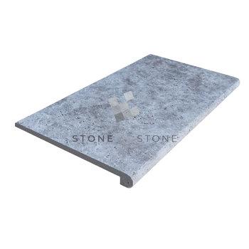 33x61/1,2cm Nez de marche 3cm - Travertin 1er Choix - Silver