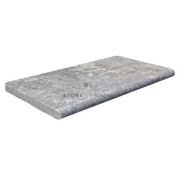 Margelle 33x61/3cm Bord Rond - Travertin 1er Choix - Silver