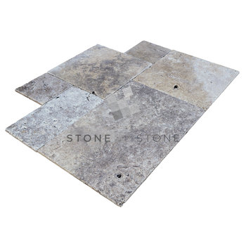 OPUS 4/1,2cm - Travertin Rustique - Silver (Gris)