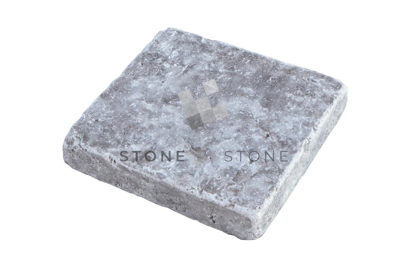Pavé 15x15/3cm - Travertin 1er choix - Silver (Gris)
