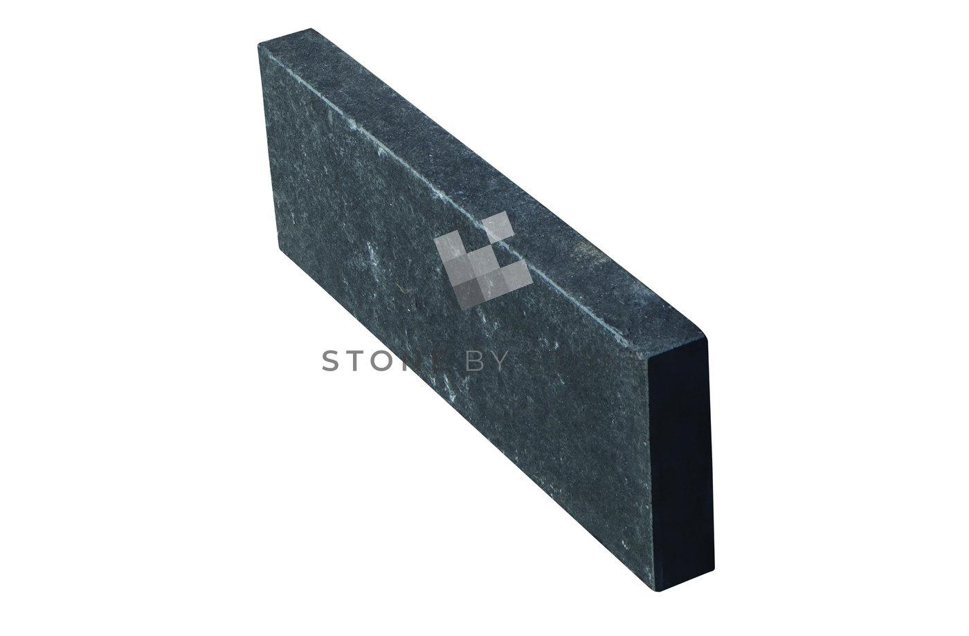 Bordure 20x60/6cm - Basalte noir - Flammé brossé