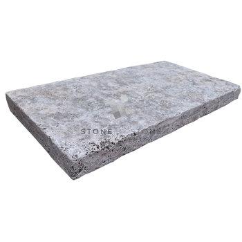 Margelle 33x61/5cm Bord Droit - Travertin 1er Choix - Silver