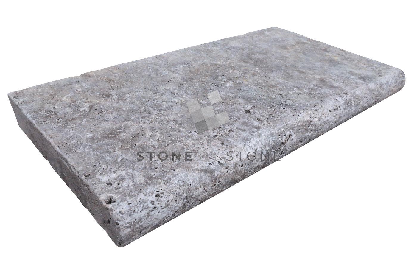 Margelle 33x61/5cm Bord rond - Travertin 1er Choix - Silver