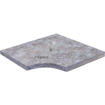 Angle rentrant 33/3cm Bord Droit - Travertin 1er choix - Silver